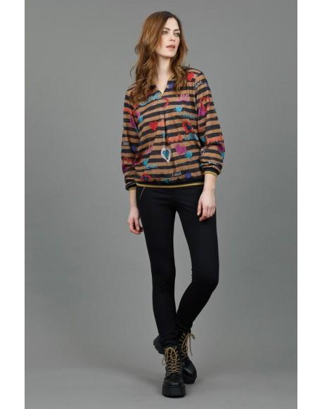 Hongo print striped sweater