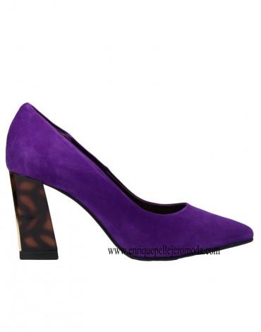 Daniela zapatos morados tacón carey