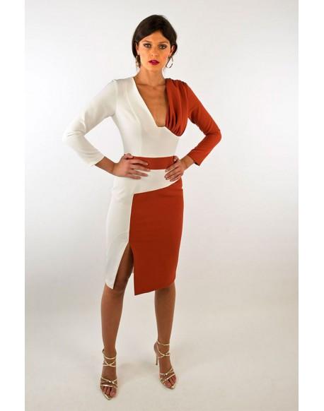 Margarita Muñoz vestido bicolor