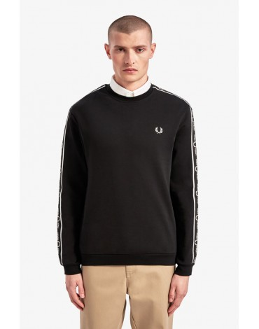 Fred Perry black sweatshirt tape sleeves