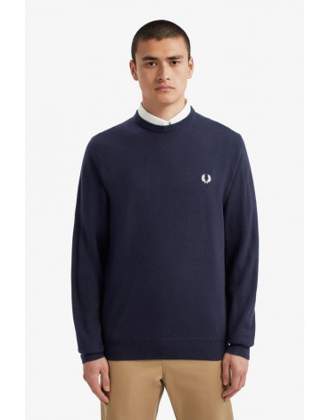 Fred Perry dark carbon blue sweater merino wool