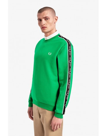 Fred Perry sweatshirt green electric tape sleeves