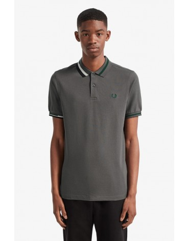 Fred Perry gray polo shirt collar abstract