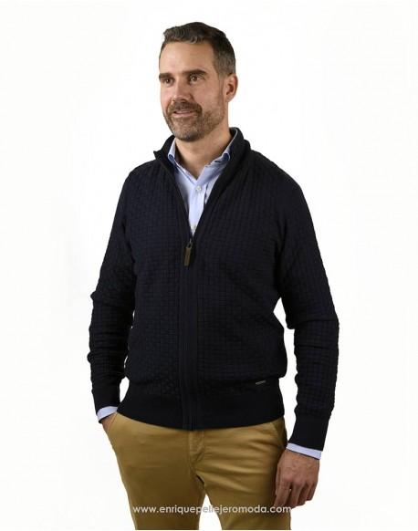 Pertegaz chaqueta cremallera azul marino Ropa Pertegaz punto hombre