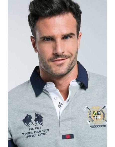 Valecuatro rugby polo shirt half gray stripe