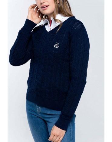 Valecuatro navy V-neck sweater
