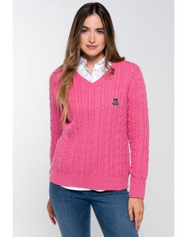 Valecuatro pink V-neck sweater