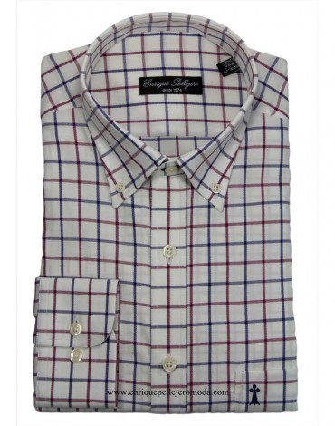 Blue check shirt Enrique Pellejero