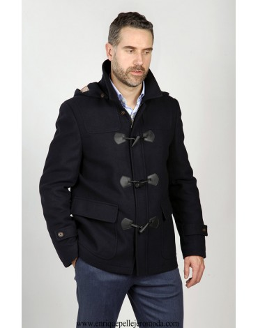 Navy blue duffle coat Enrique Pellejero