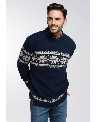 Valecuatro greca navy sweater