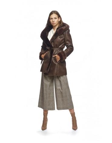 MdM abrigo piel vuelta marron