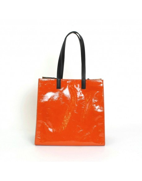 Orange patent leather shopping
