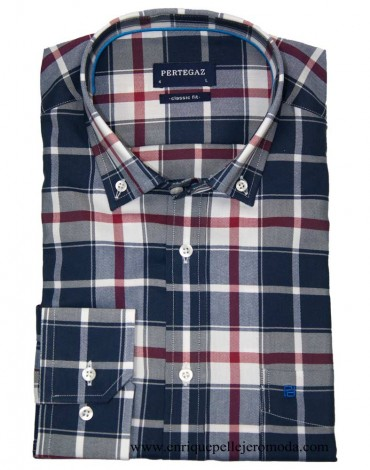 Pertegaz navy plaid shirt