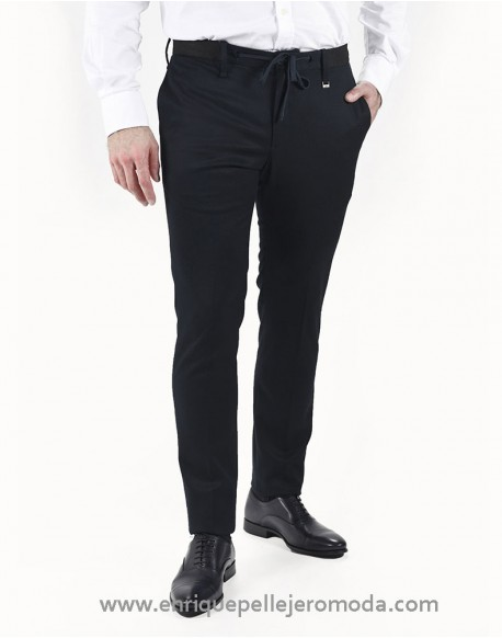 Pertegaz fitted navy blue trousers