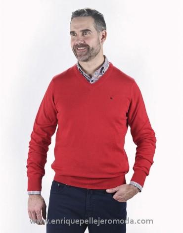 Pertegaz jersey cuello pico rojo