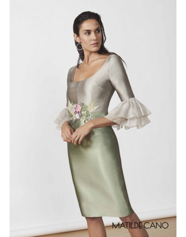 Matilde Cano bicolor silk dress