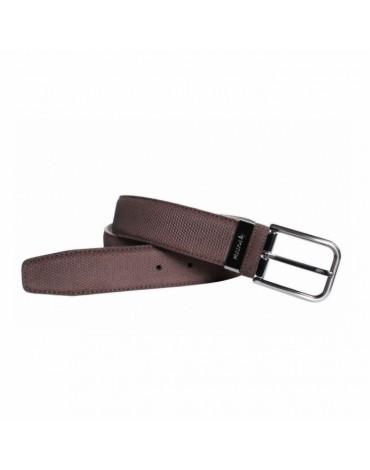 Cinturon piel grabado marrón
