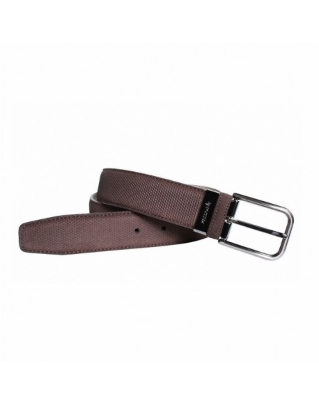 Brown engraved leather belt