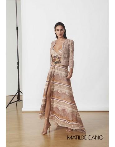 Matilde Cano guipure long dress