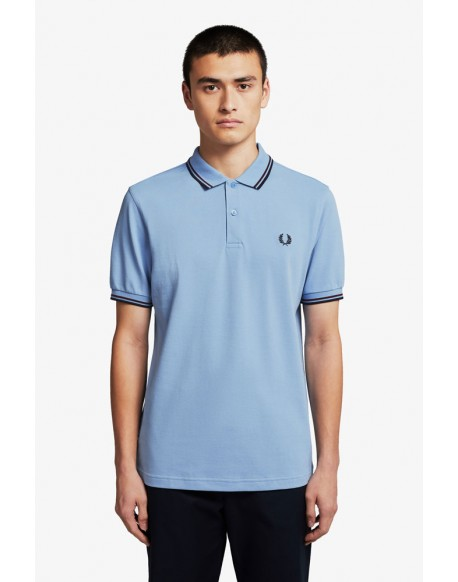 Fred Perry sky blue polo shirt stripes