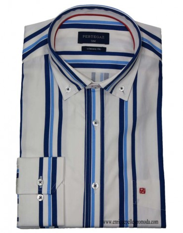 Pertegaz camisa sport rayas azul