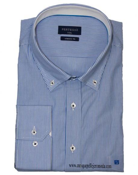 Pertegaz blue stripe sport shirt