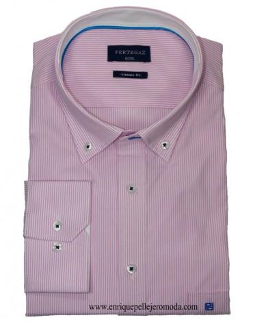 Pertegaz pink striped sport shirt