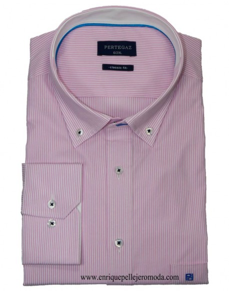 Pertegaz pink striped sport shirt