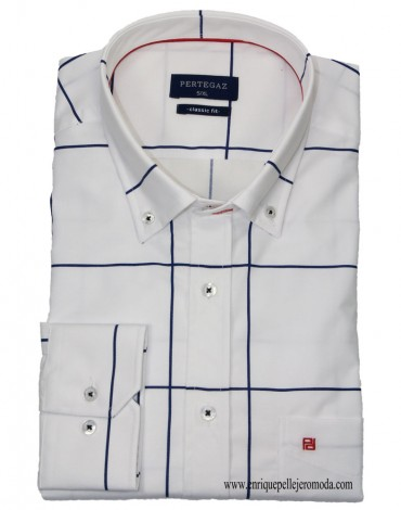 Pertegaz white checked sport shirt