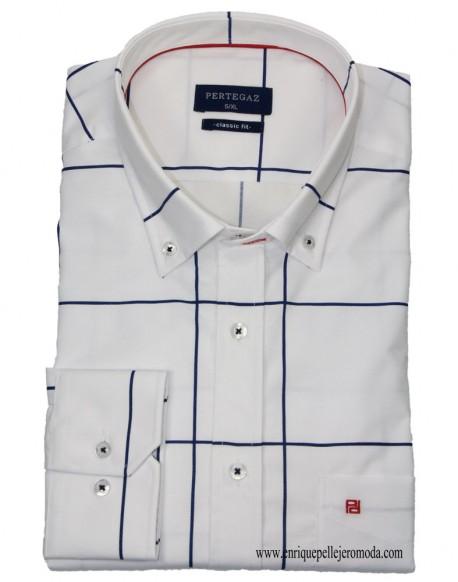 Pertegaz camisa sport blanca cuadros