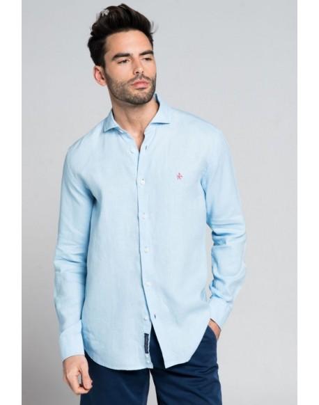 Valecuatro camisa lino celeste