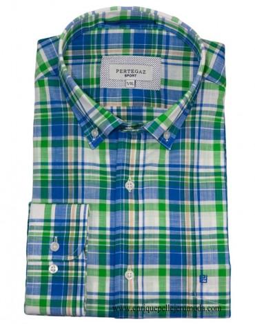 Pertegaz camisa cuadros azul verde