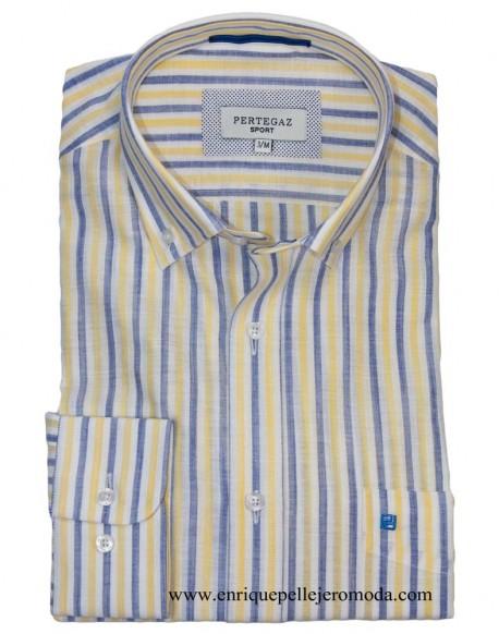 Pertegaz yellow striped sports shirt