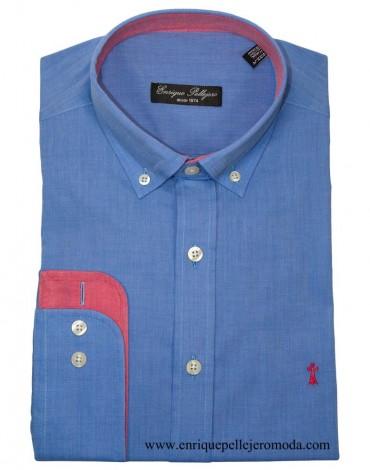 Camisa azul hombre verano