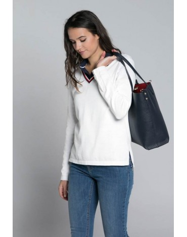 Valecuatro white v-neck sweater