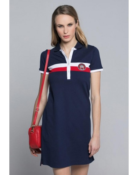 Valecuatro vestido franjas azul marino