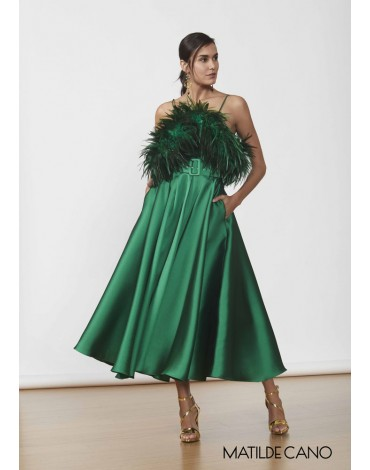 Matilde Cano green silk feather dress