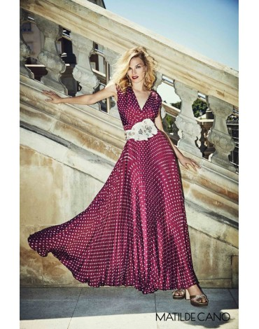 Matilde Cano long polka dot dress