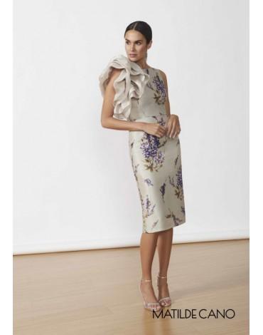 Matilde Cano gray ruffle dress