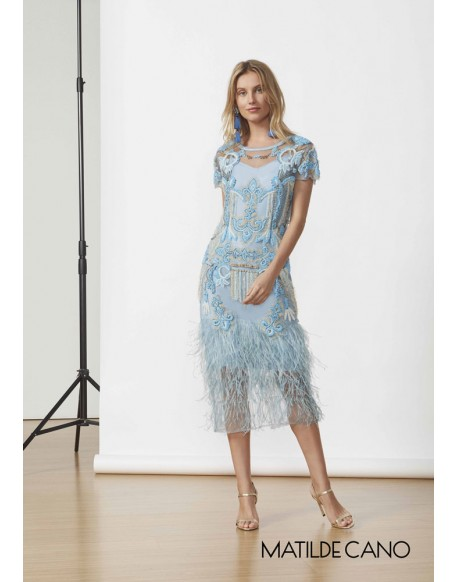 Matilde Cano feather rhinestones dress