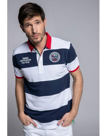 Valecuatro navy blue striped polo shirt