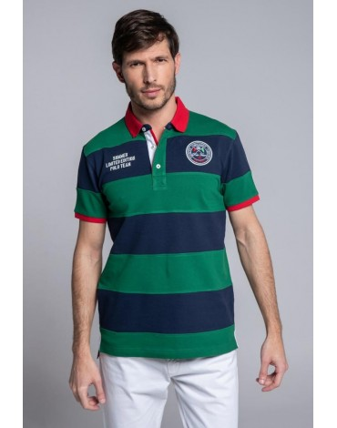 Valecuatro green striped polo shirt