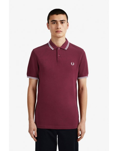 Fred Perry Polo Burdeos Franjas Blancas Ropa Hombre Marca Fred Perry