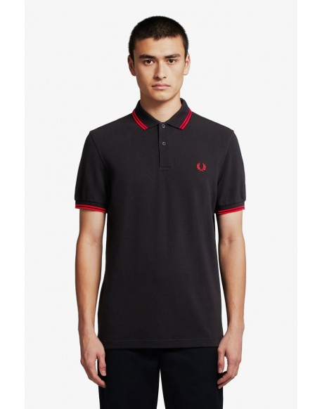 Fred Perry polo negro franjas rojas