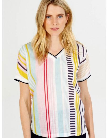 Vilagallo camiseta multicolor rayas