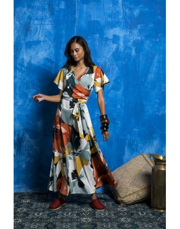 MdM printed long wrap dress