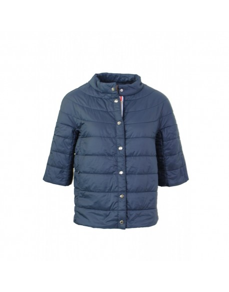 Women's quilted navy parka