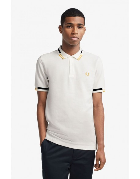 Fred Perry white polo shirt with abstract edging