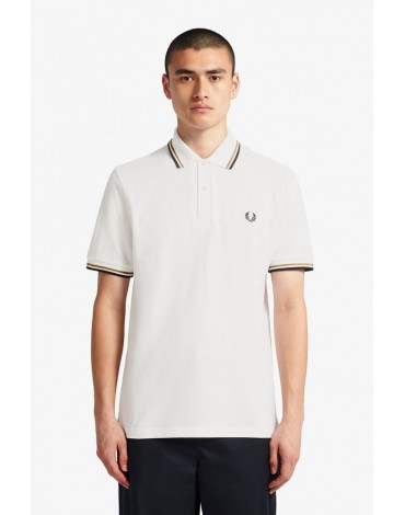 Fred Perry polo blanco nieve ribetes