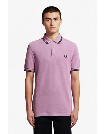 Fred Perry polo malva oxford ribetes negros
